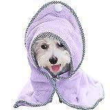 Hunde Bademantel Warm Haustierhandtuch - Schnelltrocknend Super Saugfähig Hundetuch mit Verstellbaren Trägern für Hunde Katzen mit Engelsflügeln