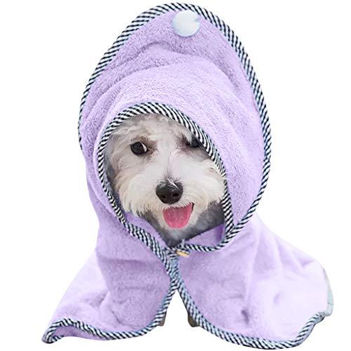 Hunde Bademantel Warm Haustierhandtuch - Schnelltrocknend Super Saugfähig Hundetuch mit Verstellbaren Trägern für Hunde Katzen mit Engelsflügeln -