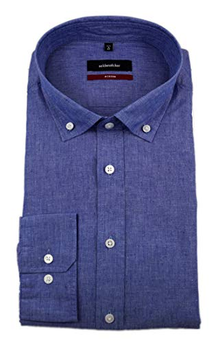 Kragen-denim-hemd (Seidensticker Herren Langarm Casual Hemd Denim Button-Down-Kragen BD oT Struktur Jeanslook 115782 (Blau, 44))