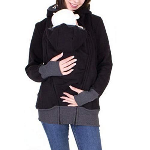 (Amphia - Damen-Schlafanzug mit KapuzeFrauen Mutterschaft gestreiften Baby Pouch Carrier Hoodie Känguru Reißverschluss Schwangerschaft Mantel - (Schwarz,M))