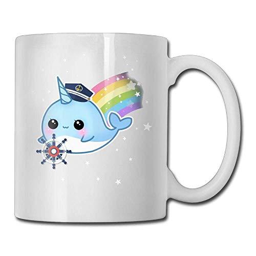 Cute Kawaii Captain Narwhal with Rainbow 11oz Tea Cup Coffee Mug