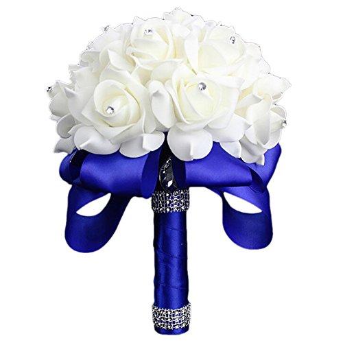 Beiguoxia 1bouquet sposa damigella d' onore fatto a mano festa di nozze strass fiore artificiale, schiuma, blue, taglia unica
