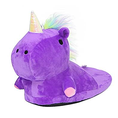 Licorne Chaussons Unicorn Peluche Pantoufle Slip-On Slippers Adulte Taille 35-40 Cosplay Chaussure Animal
