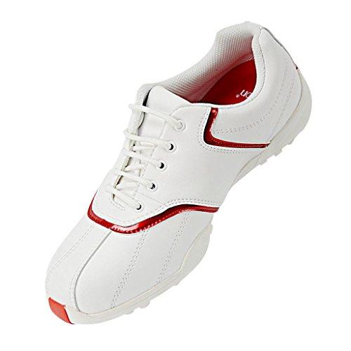 Sharplace Damen Golf Schuhe Wasserdichte Leichte Frauen Golfschuhe Atmungsaktiv Rutschfest Schnürschuhe - weiß Rot, 39