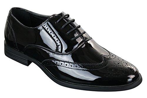 Patron scarpe classiche da uomo in finta pelle lucida con lacci stile elegante brogue nero 6uk, 40eu