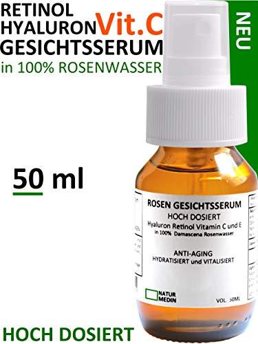 Rosenwasser GESICHTS-SERUM 50-ml Hyaluron-säure Vitamin C E Retinol hochdosiert anti-aging Falten Augen-Gel Serum bio vegan Qualität 100%...