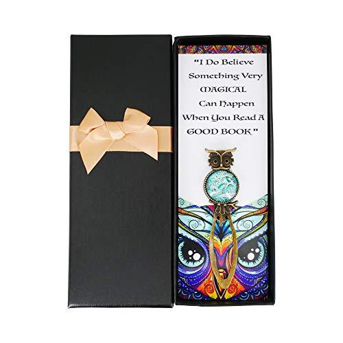 Sincerelyforyou - Segnalibro con clip in metallo a forma di gufo magico, in confezione regalo vintage, per insegnanti, donne (turchese A)