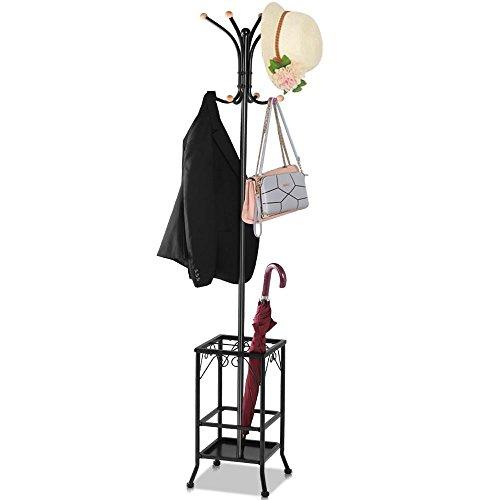 garderobe mit schirmstaender Yaheetech Garderobenständer Schirmständer Kleiderständer stabil Jackenständer mit 8 Haken und Schirmständer Metall Höhe 188 cm