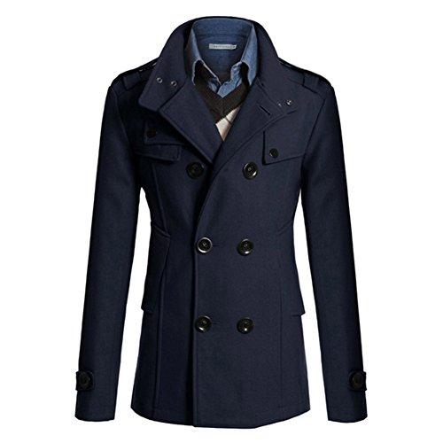 Highdas Herren Trench Ccoat Mannlich Winter Warm Mantel Jacken Marine