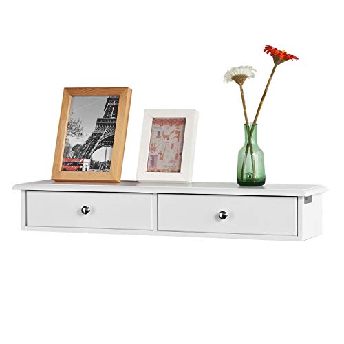 SoBuy® FRG43-W Meuble d'entrée de Rangement, Étagère Murale 2 tiroirs, Armoire à clés, Porte-clés L63,5xP13,5xH10cm -Blanc