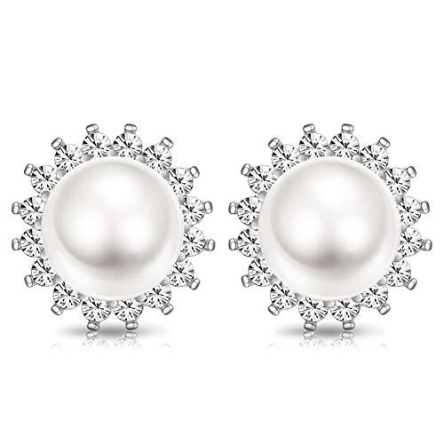 CASSIECA 925 Sterling Argento Orecchini Perla per Donna Ragazze Orecchini a Forma di Girasole Perle d'acqua Dolce Bianche Punteggiati con AAA Zircone Orecchini Regalo di San Valentino/Natale