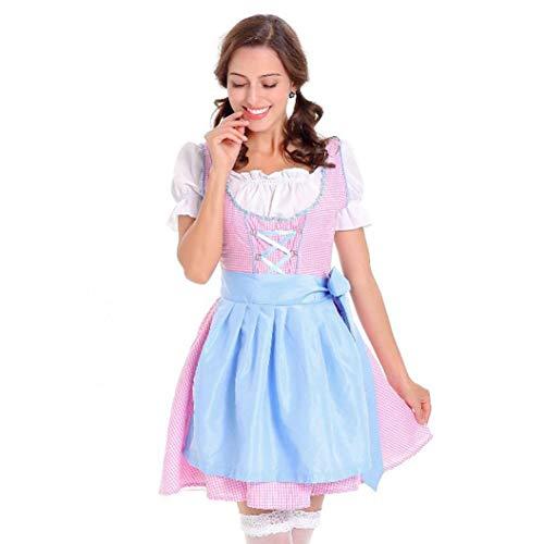 Oktoberfest Karneval Kostüm Damen Dirndl Traditionelles Kleid Halloween Cosplay Trachtenkleid Maid Kostüm- Drei Teilig: Kleid, Bluse, Schürze/Blau /M,XL (Blau, XL)