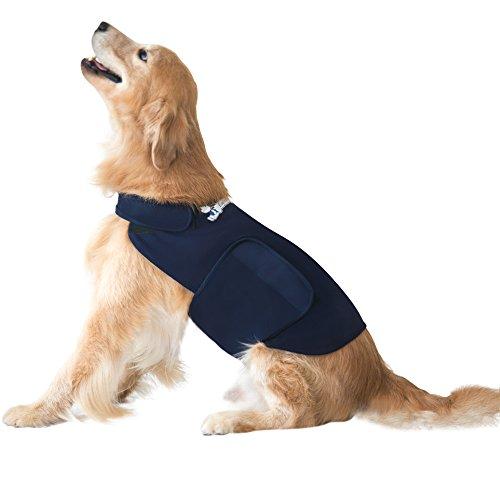 Eagloo Beruhigungsweste für Hunde Hundemantel zur Angstbekämpfung Panikgeschirr Angst Geschirr Hund Dog Anxiety Shirt Dunkelblau M