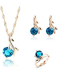 Shining Diva Blue 18K Gold Plated Crysta Pendant Necklace With Earrings & Ring For Women & Girls