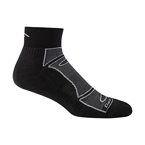 Darn Tough Vermont Herren 1/4 Merino Wolle Socke Light Cushion Athletic Socken, Herren, schwarz / grau (Grau Socken Fußkettchen)