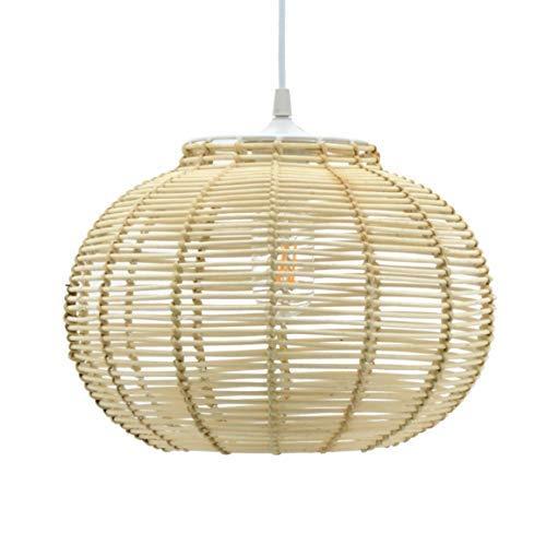 Lussiol 250644 - Lámpara de techo (mimbre, 60 W, 30 x 23 cm), color natural
