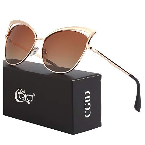 CGID Moderne Modische Spiegel Polarisierte Katzenauge Sonnenbrille Brille UV400,Gold Braun