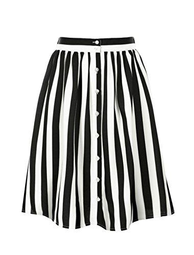 Allegra K Women's Striped Button Front Elastic Back Waist A Line Midi Skirt