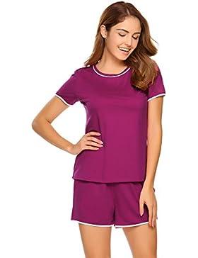 ADOME Damen Schlafanzug Kurzarm Baumwolle Shorty mit Hose 2-tlg pyjama set sommer Nachtwäsche Shirt & Shorts Schwarz...