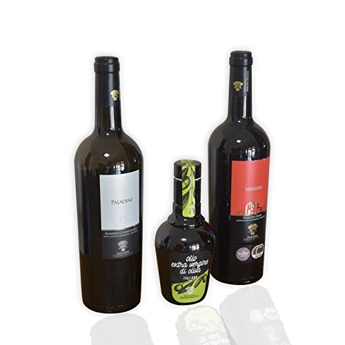 Masseria Barone Melodia Trittico Vino ed Olio: 1 Vino Rosso Meridio + 1 Vino Bianco Paladini + Olio Evo da 250 ml - Set Vino ed Olio - Tris Risparmio