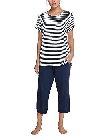 Schiesser Damen Zweiteiliger Schlafanzug Anzug 3/4, 1/4 Arm, Blau (Dunkelblau 803), 40