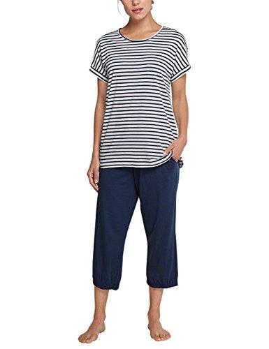 Schiesser Damen Zweiteiliger Schlafanzug Anzug 3/4, 1/4 Arm, Blau (Dunkelblau 803), 48