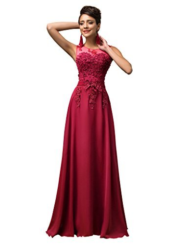 Damen V-Rückenfrei Chiffon Langes Party Ballkleid Abendkleid 42 CL007555-5
