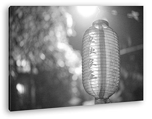 deyoli asiatische Laterne Effekt: Schwarz/Weiß Format: 60x40 als Leinwandbild, Motiv fertig gerahmt auf Echtholzrahmen, Hochwertiger Digitaldruck mit Rahmen, Kein Poster oder Plakat -