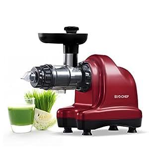 Extracteur de Jus BioChef Axis Cold Press Juicer - Extracteur Masticateur Horizontal pour Herbe de Blé, Fruits et Légumes avec 20 ans de Garantie (Rouge)