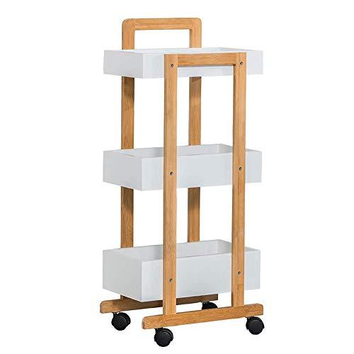 B-K Vier Räder Portable Tool Storage Cart Shelf Wagen, Bambus Racks Küchenregale Mobile Schöne Stilvolle Küche auf Rädern Restaurant Hotel Warenkorb Rack, Holz Farbe, 38X20X80Cm Utility Cart, Holz