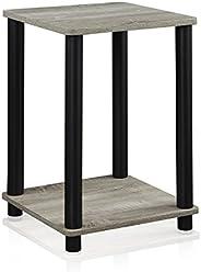 Furinno 99800GYW/BK Turn-N-Tube End Table, French Oak Grey/Black