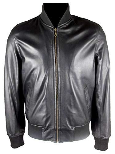 UNICORN Hommes Réel en cuir Veste Blouson Noir Taille 42#B0