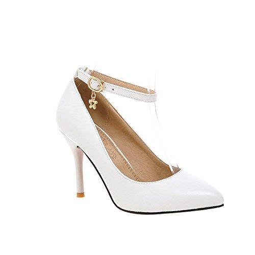 Guoar Stiletto Damen Spitzschuh Knöchelriemchen Büro-Dame Pumps mit Riemchen Weiß