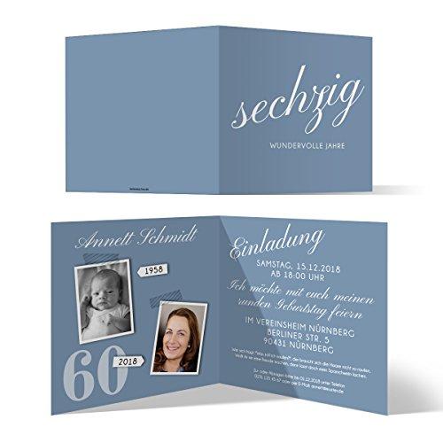 20 x Runder 60. Geburtstag Einladungskarten Geburtstagseinladungen - sechzig wundervolle Jahre
