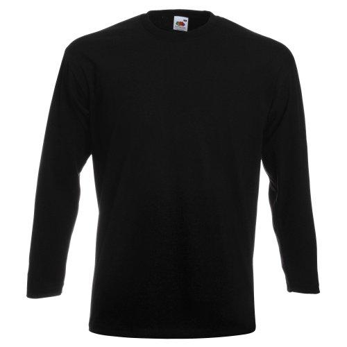 Fruit of the Loom Herren Super Premium Langarm T-Shirt (XL) (Schwarz)