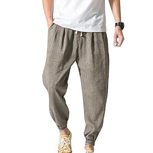 Pantalones Hombre Verano Pantalones de Lino Sueltos Pantalón de Playa con Bolsillos Laterales Pantalones Hombres 3/4 Longitud Pantalone Casuales Transpirable Cómodo Claros