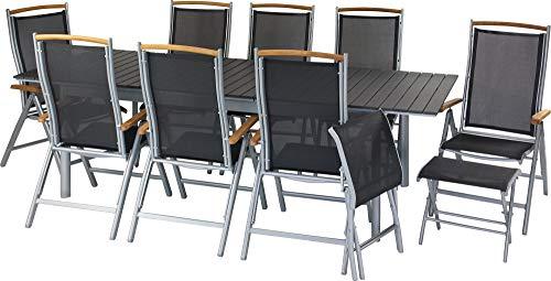 ib style®Polywood Gartengarnitur   Tisch+ 8X Klappstuhl Diplomat+ 2X Fußbank  pflegeleicht und witterungsbeständig   Tisch: 205-260x100cm - Polywood Klappstuhl