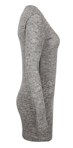 Smile YKK Femme Sweat-shirt Chemise Robe Tricot Manches Longue Moulante Hip-package Uni Gris