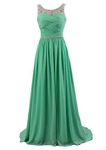 (Kmformals Damen Perlen Lang Chiffon Formale Abschlussball Abendkleid Brautjungfer Kleider Größe 44 Smaragd Grün)