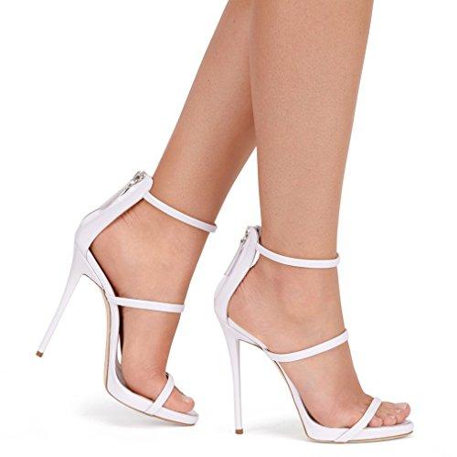 ENMAYER Femmes Synthétique Sexy Open Toe Stiletto Haut Talon Confort Party Summer Sandales Pompes Blanc