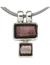Gabriella Nanni, waxed cotton 2 strings necklace with pendant in natural 925 silver and Murano Glass - Minicollana