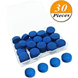 Kenkio 30 Pieces Cue Tips 13 Mm Pool Billiard Cue Stick Tips Replacement With Storage Box For Snooker Pool Cues, Blue
