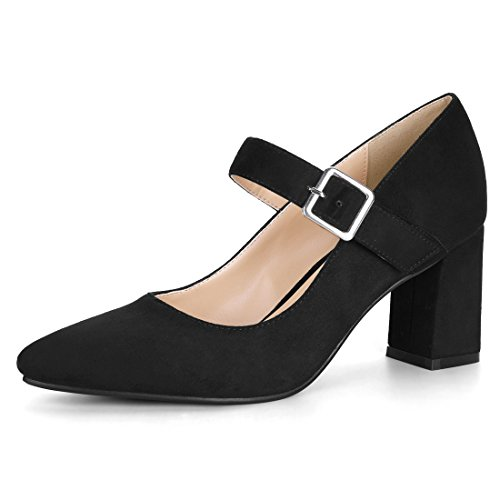 Allegra K Damen Pointed Toe Blockabsatz Mary Jane High Heels Pumps, Schwarz/EU 39 2-strap Mary Janes