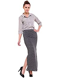 FRANCLO Women's Pencil Skirt (Stripes Design 100% Imported Polyester) (30-34 Waist)