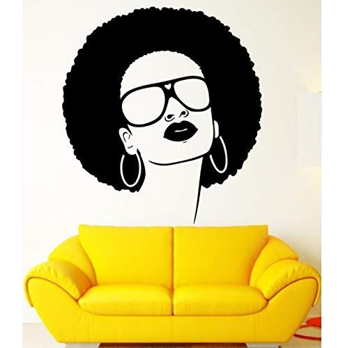 Mädchen Vinyl Wand Applique afrikanischen schwarzen Hippie Damen Sonnenbrille Ohrringe Wandkunst Wandaufkleber Schönheitssalon Dekoration 55x55cm