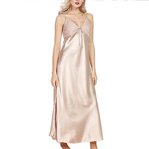 One Shoulder Silk Gown (TIAQUE Women Silk Gown Sleepdress Bowknot Simple Helter Top Robe Braces Long Sleepdress Bothrobe Beige UK 8-10)