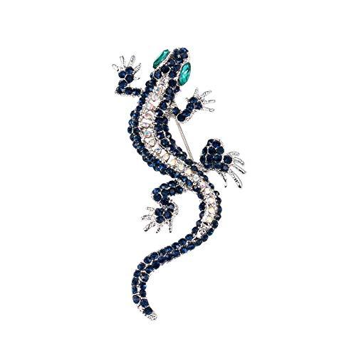 ZWLZQ Broschen Brosche Kristall Eidechse Broschen Für Frauen Männer Kleidung Kostüm Kleid Gecko Tierform Party Broschen. Blau