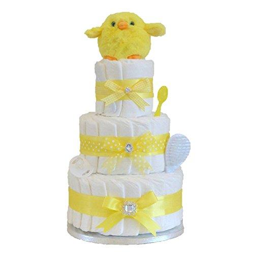 Signature gâteau de couches 3étages Unisexe Jaune/Panier/Cadeau bébé/Cadeau de douche NEW ARRIVAL pour bébé/envoi rapide