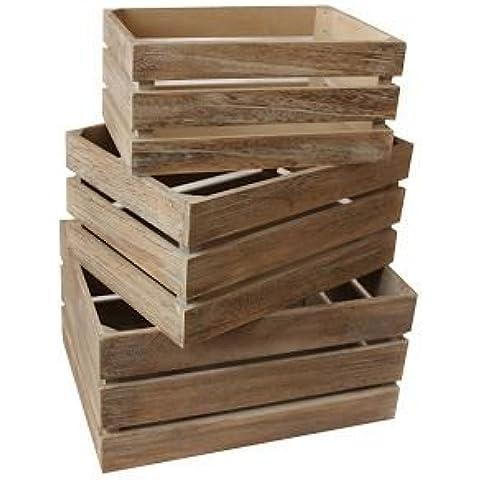 Efecto roble de listones de madera del cajón de almacenamiento del conjunto 3