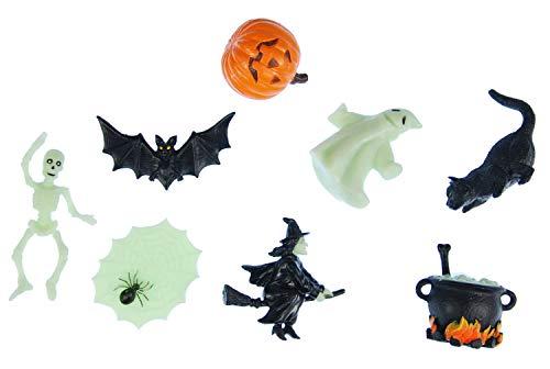 Miniblings 7X Halloween Aufstellfigur Gummitier Hexen Kessel Geist Kürbis Mix